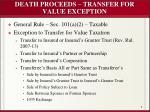 death proceeds transfer for value exception