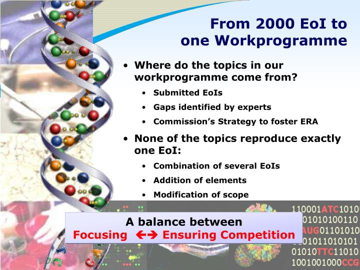 From 2000 EoI to one Workprogramme