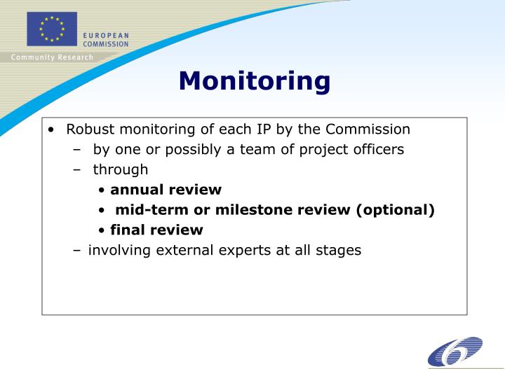 Robust monitoring of each IP by the Commission