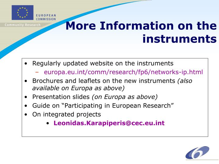 Regularly updated website on the instruments