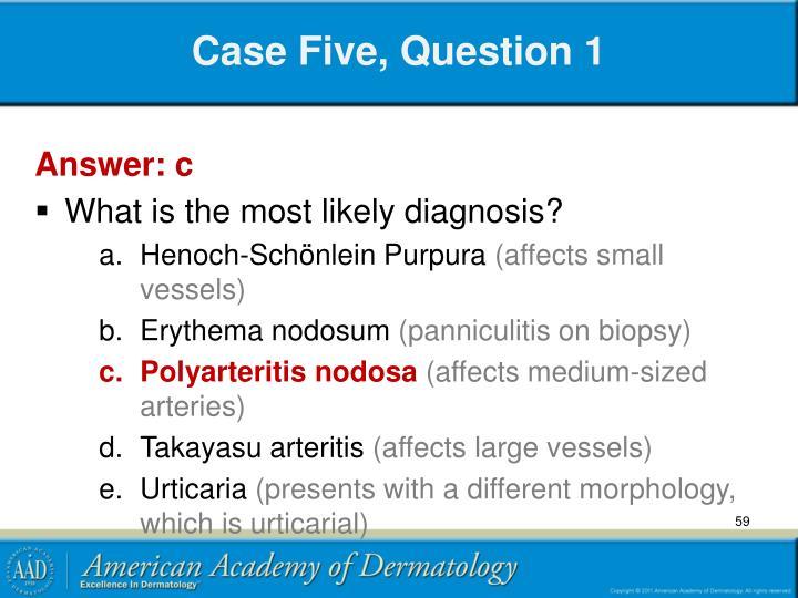 Case Five, Question 1