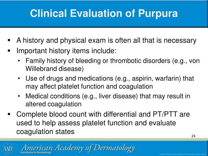 Clinical Evaluation of Purpura