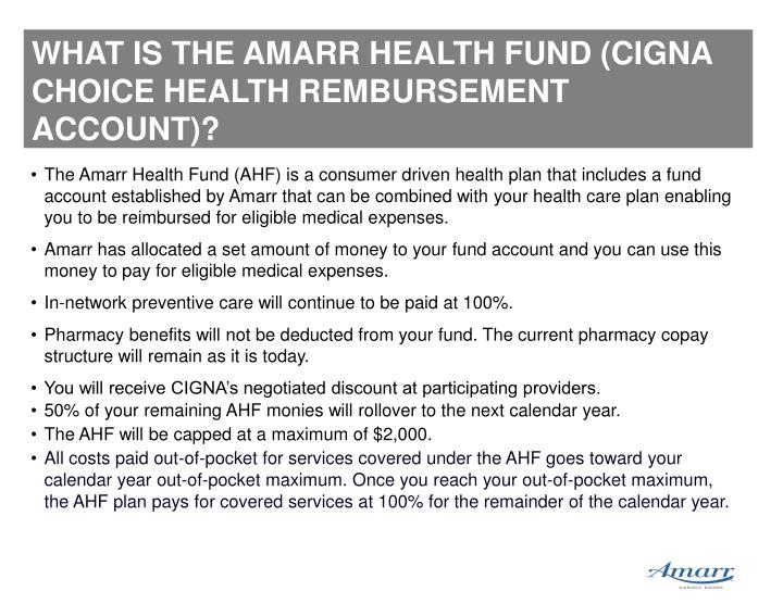 WHAT IS THE AMARR HEALTH FUND (CIGNA CHOICE HEALTH REMBURSEMENT ACCOUNT)?
