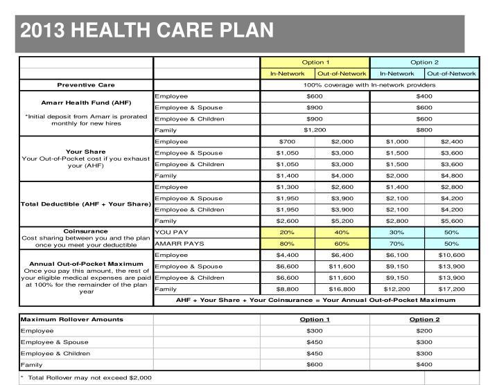 2013 HEALTH CARE PLAN
