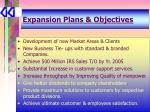 expansion plans objectives
