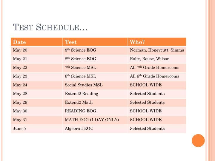 Test Schedule…