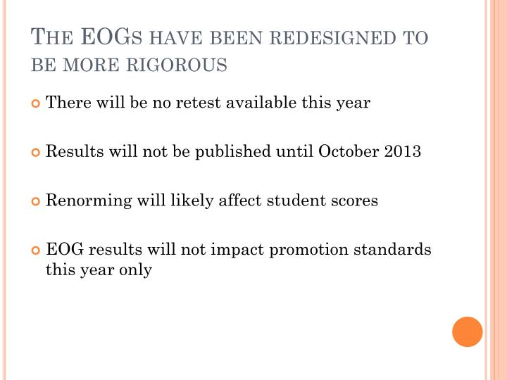 The eogs have been redesigned to be more rigorous