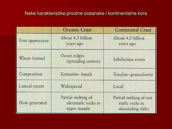 Neke karakteristike prvotne oceanske i kontinentalne kore