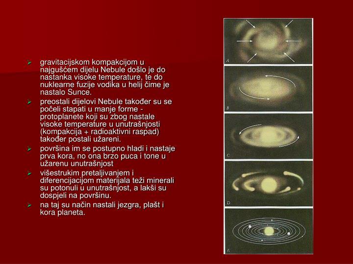 gravitacijskom kompakcijom u najgušćem dijelu Nebule došlo je do nastanka visoke temperature, te do nuklearne fuzije vodika u helij čime je nastalo Sunce.