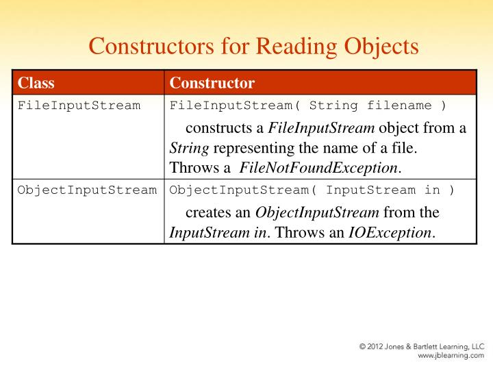 Constructors for Reading Objects