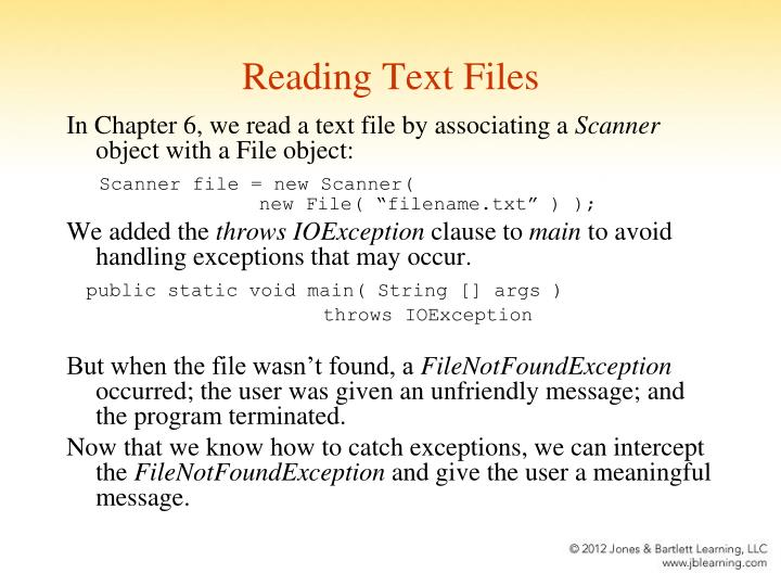 Reading Text Files