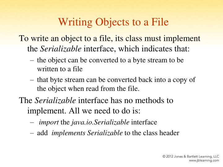 Writing Objects to a File