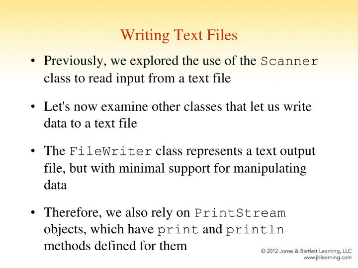 Writing Text Files