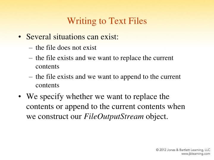 Writing to Text Files