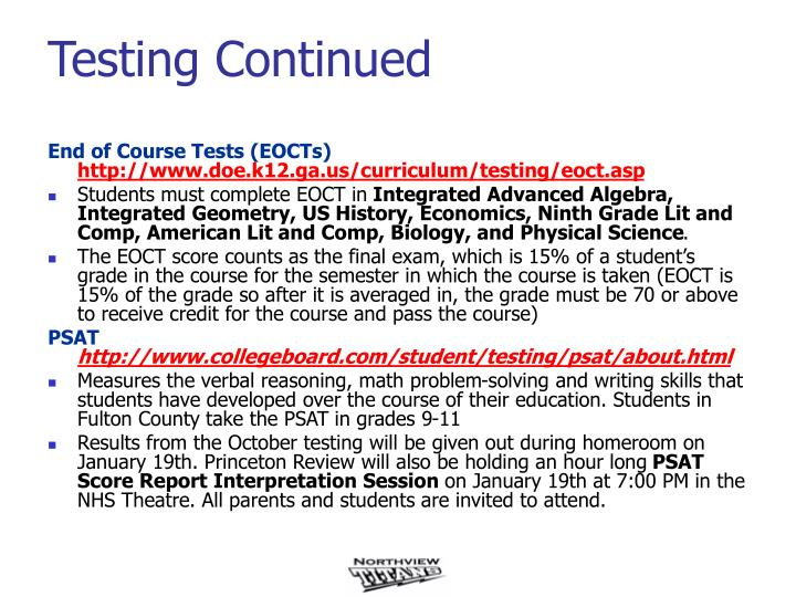 End of Course Tests (EOCTs)
