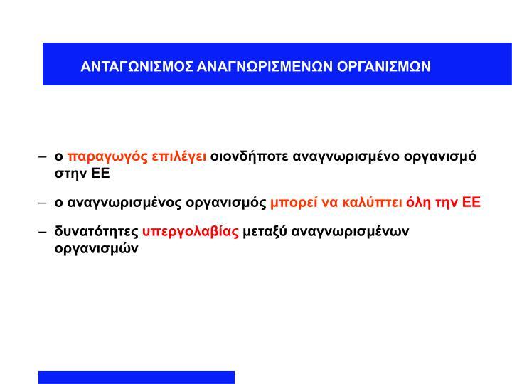 ΑΝΤΑΓΩΝΙΣΜΟΣ ΑΝΑΓΝΩΡΙΣΜΕΝΩΝ ΟΡΓΑΝΙΣΜΩΝ