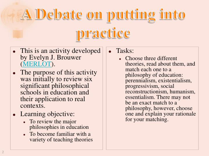 A debate on putting into practice
