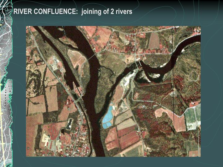 RIVER CONFLUENCE:  joining of 2 rivers