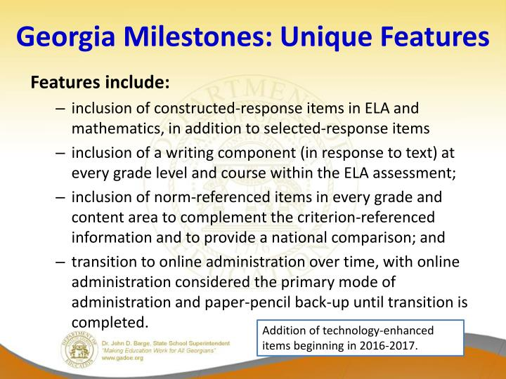 Georgia Milestones: Unique Features