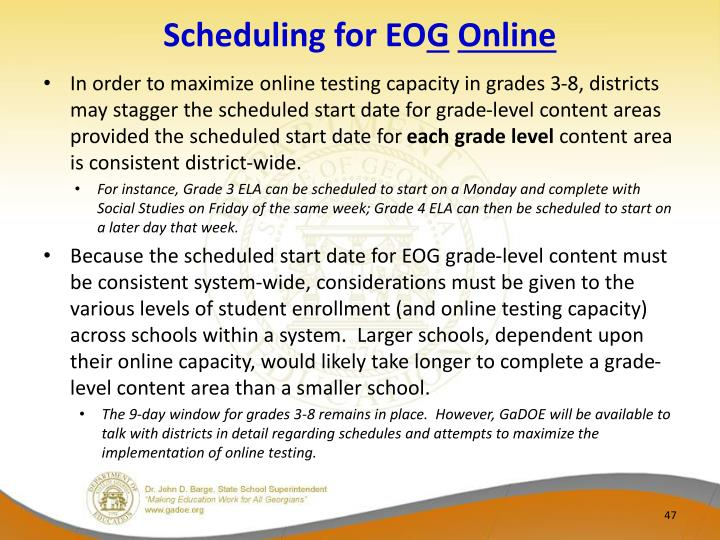 Scheduling for EO