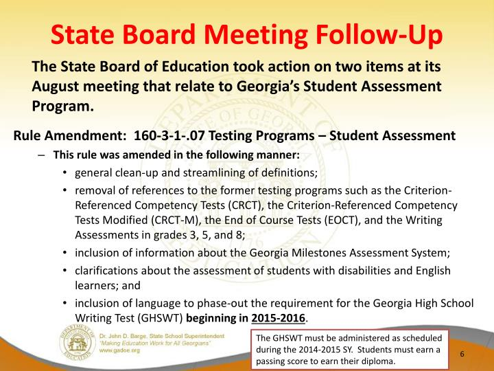 State Board Meeting Follow-Up