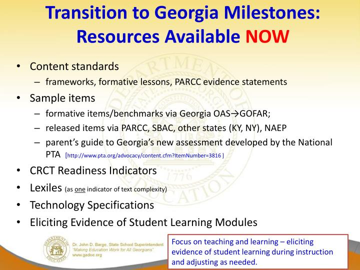 Transition to Georgia Milestones: