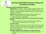 activities 2006 2009 awareness raising and information activities