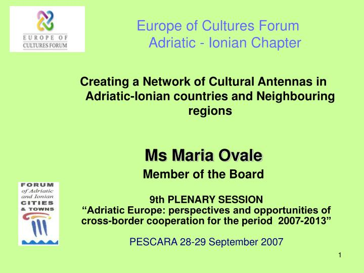 europe of cultures forum adriatic ionian chapter n.
