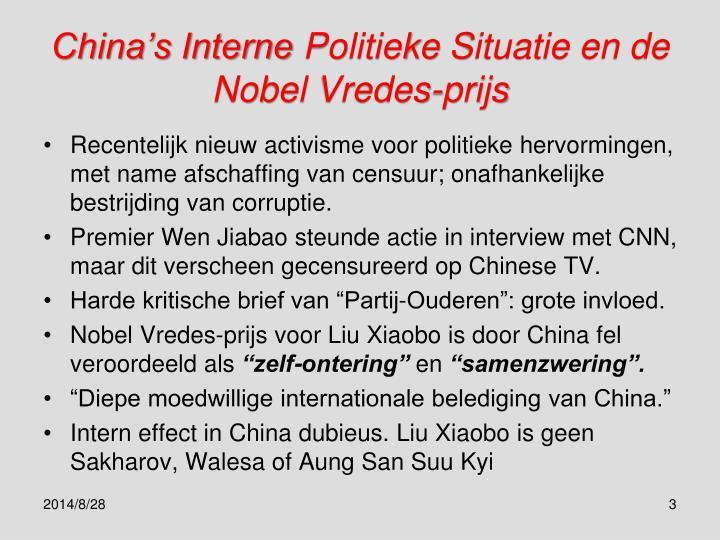 China s interne politieke situatie en de nobel vredes prijs