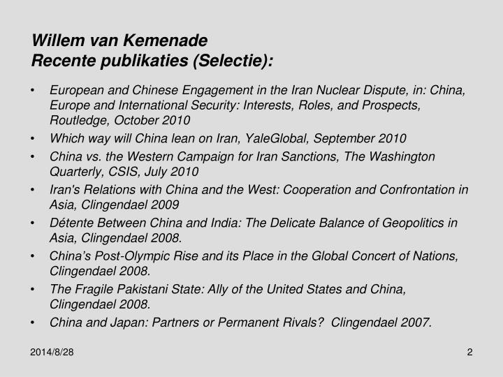 Willem van kemenade recente publikaties selectie