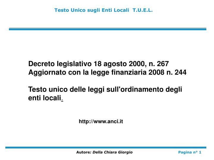 Ppt Testo Unico Sugli Enti Locali T U E L Powerpoint Presentation Free Download Id 3664031