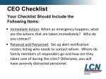 ceo checklist your checklist should include the following items
