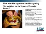 financial management and budgeting who and what are the targets of financial support
