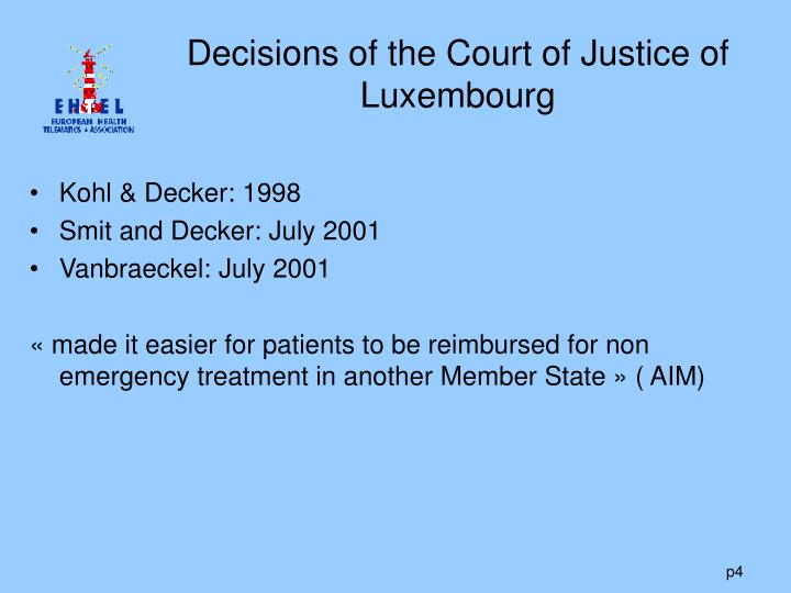 Decisions of the Court of Justice of Luxembourg