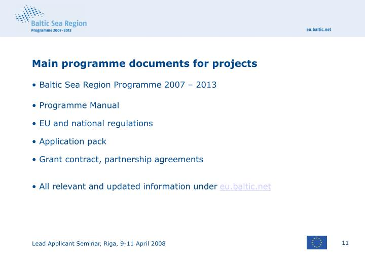 Main programme documents for projects