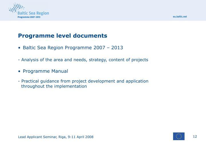 Programme level documents