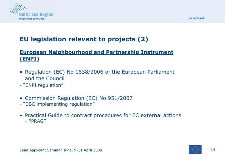 EU legislation relevant to projects (2)