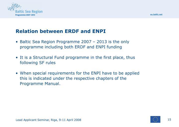 Relation between ERDF and ENPI