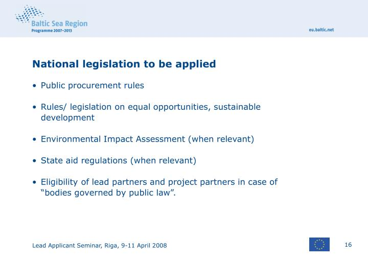 National legislation to be applied