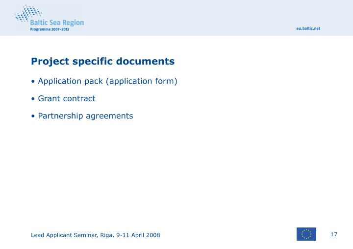 Project specific documents