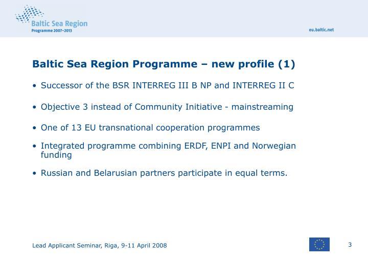 Baltic Sea Region Programme – new profile (1)