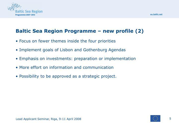 Baltic Sea Region Programme – new profile (2)
