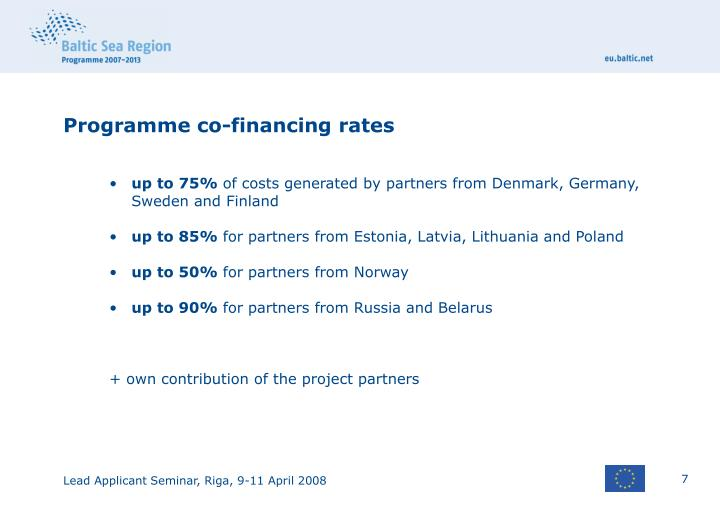 Programme co-financing rates