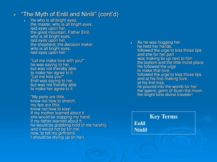 """The Myth of Enlil and Ninlil"" (cont'd)"