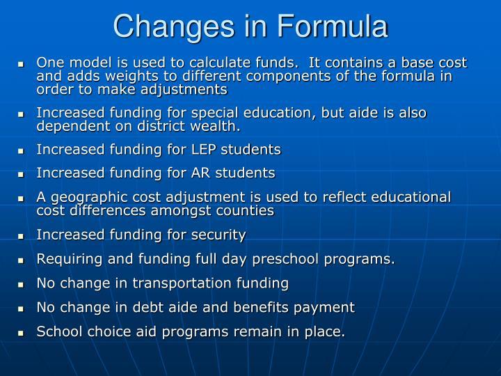 Changes in Formula