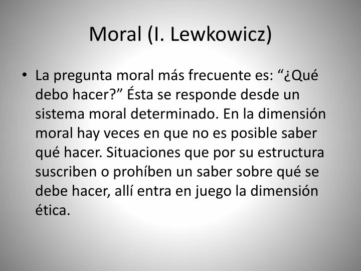 Moral (I. Lewkowicz)