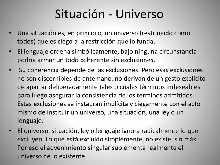 Situación - Universo