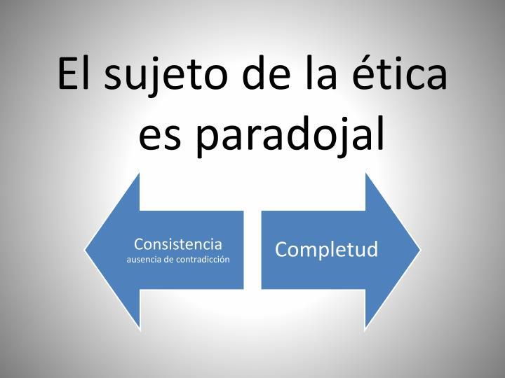 El sujeto de la ética es paradojal