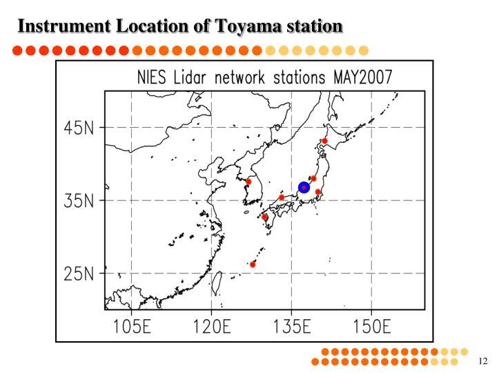 Instrument Location of Toyama station