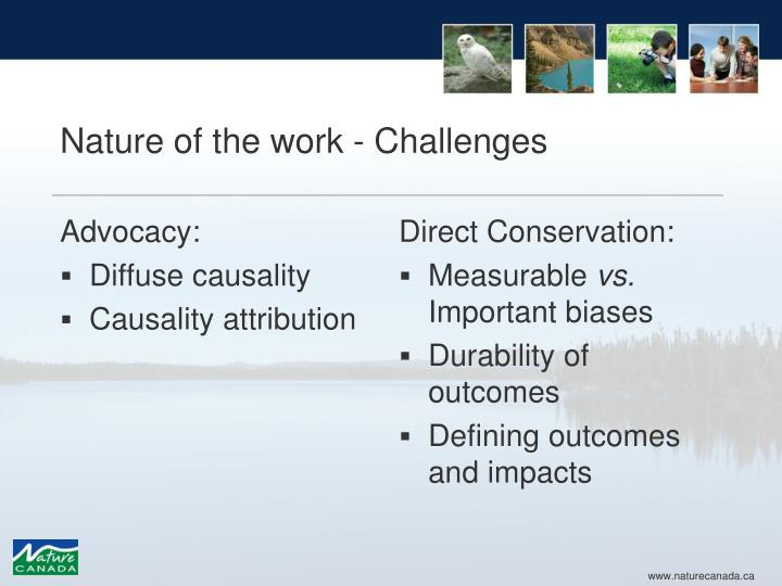 Nature of the work - Challenges